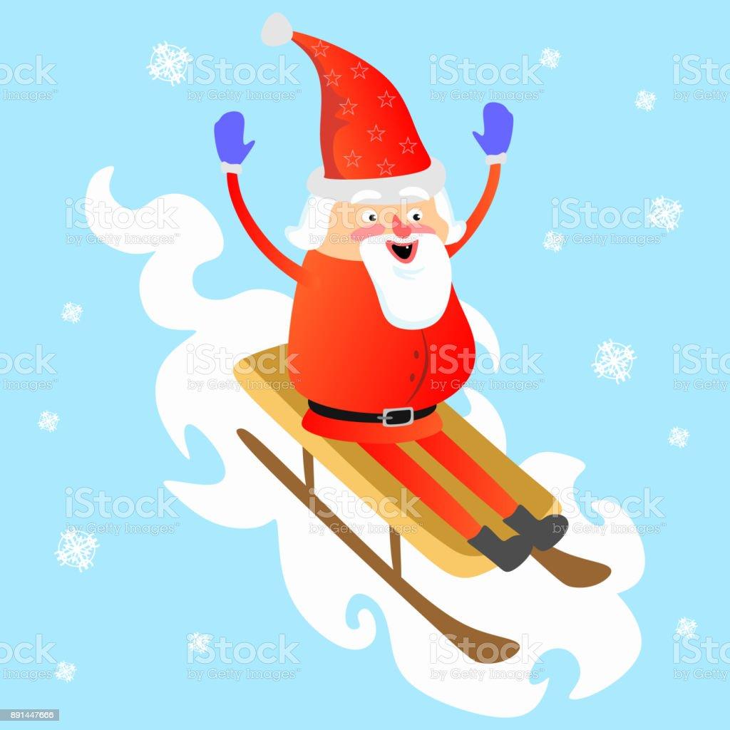 Santa Claus In Roten Hut Und Jacke Mit Bart Rollten Vom Berg Auf ...