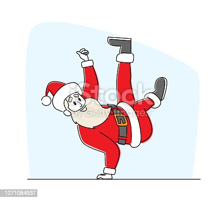istock Santa Claus in Red Traditional Costume and Hat Dancing Brake Standing on One Arm. Cool Christmas Character Performing 1271084537