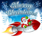 Santa Claus cartoon character in his space rocket sleigh flying over a winter wonderland snowy landscape with Merry Christmas message