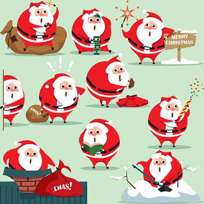 Santa Claus in traditional Christmas holiday merry santa clauses suit on green background. , Christmas santa set. Happy New Year 2019 Christmas personage. Vector Illustration