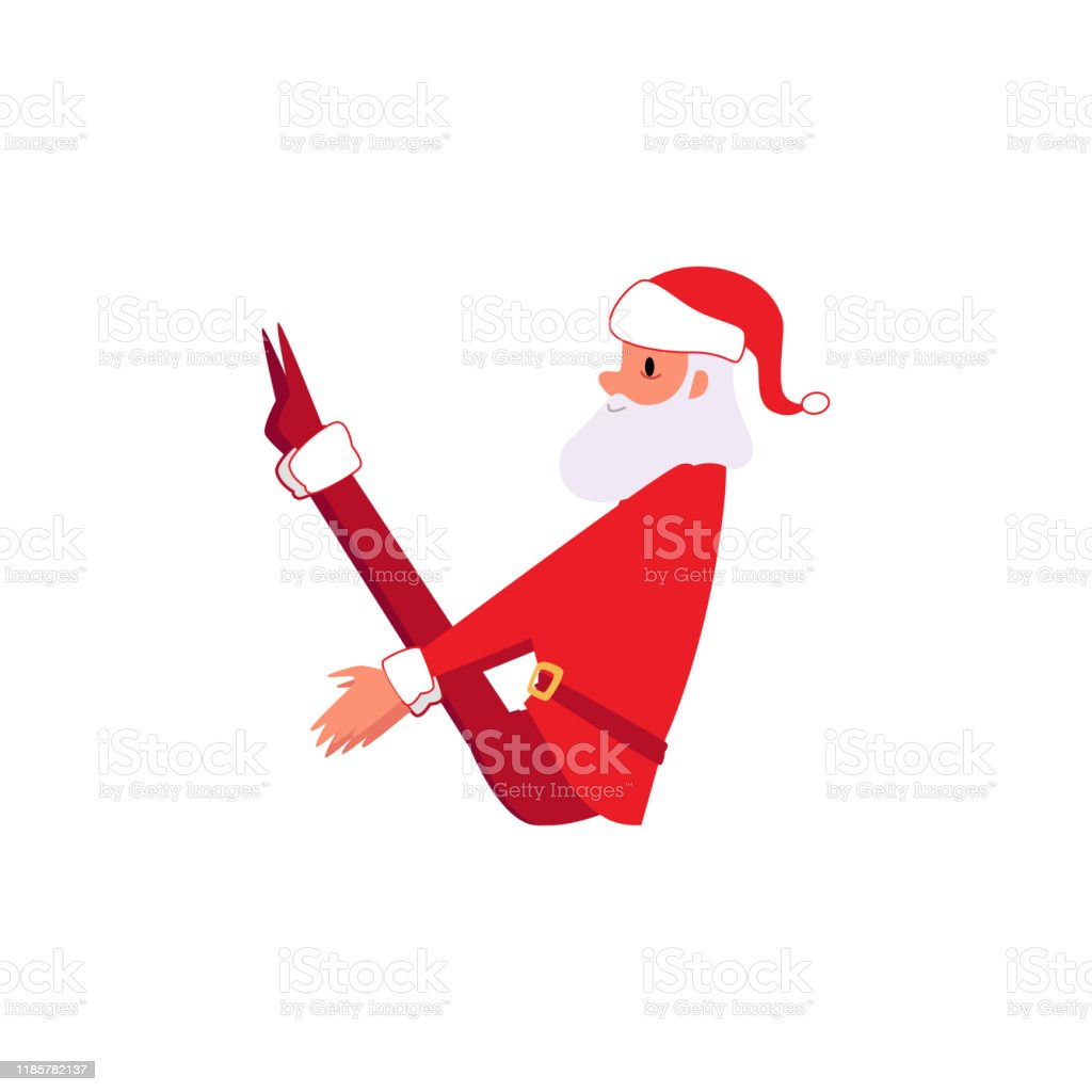 Santa Claus In Yoga Exercise Pose Christmas Cartoon Character In Winter Xmas Holiday Clothes Doing Core Asana Stock Illustration Download Image Now Istock