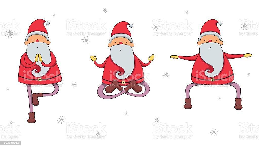 Auguri Di Natale Yoga.Santa Claus In Yoga Poses Immagini Vettoriali Stock E