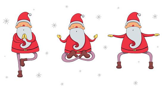 Santa Claus in yoga poses