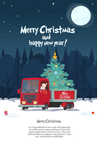 Santa Claus is a truck driver with a Christmas tree
