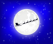 Santa Claus is flying in a sleigh on the northern Christmas deer