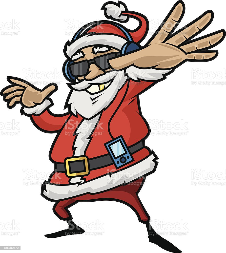 Santa Claus is listening to player vector art illustration
