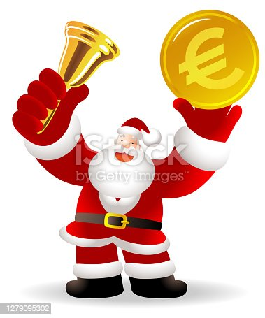 istock Santa Claus is ringing a gold bell and holding European Union currency (Euro sign coin); Merry Christmas and New Year Greeting 1279095302