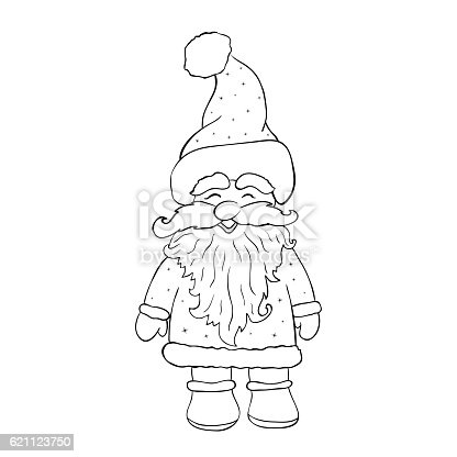 istock Santa Claus isolated on white background vector. Page for colori 621123750