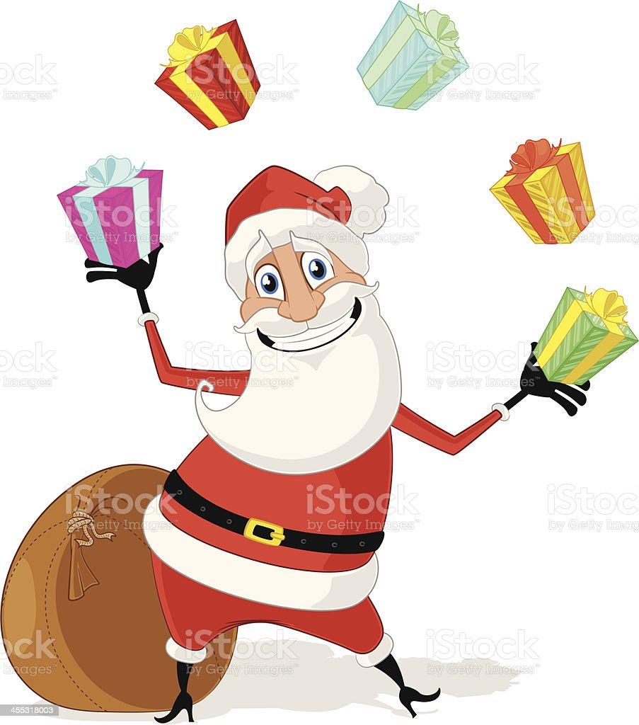 Santa Claus Juggling Christmas Gifts vector art illustration