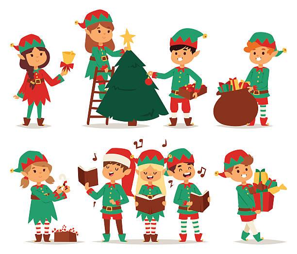 bildbanksillustrationer, clip art samt tecknat material och ikoner med santa claus kids cartoon elf helpers - christmas gift family