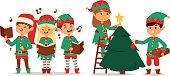 Santa Claus kids cartoon elf helpers