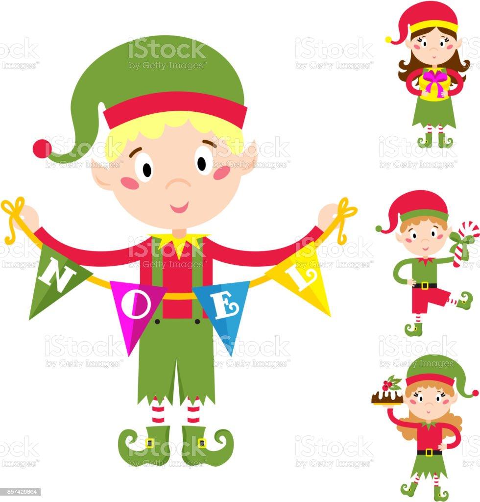Vetores De Ajudantes De Duende Do Papai Noel Criancas Desenhos