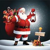 - santa holding a lantern with sack full of gifts