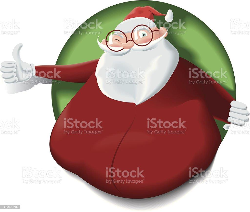 Santa Claus lean up the hole doing thumbsup royalty-free stock vector art