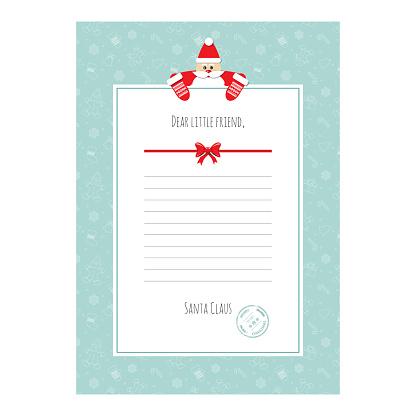 Santa Claus letter. Decorative blank template A4. clipart