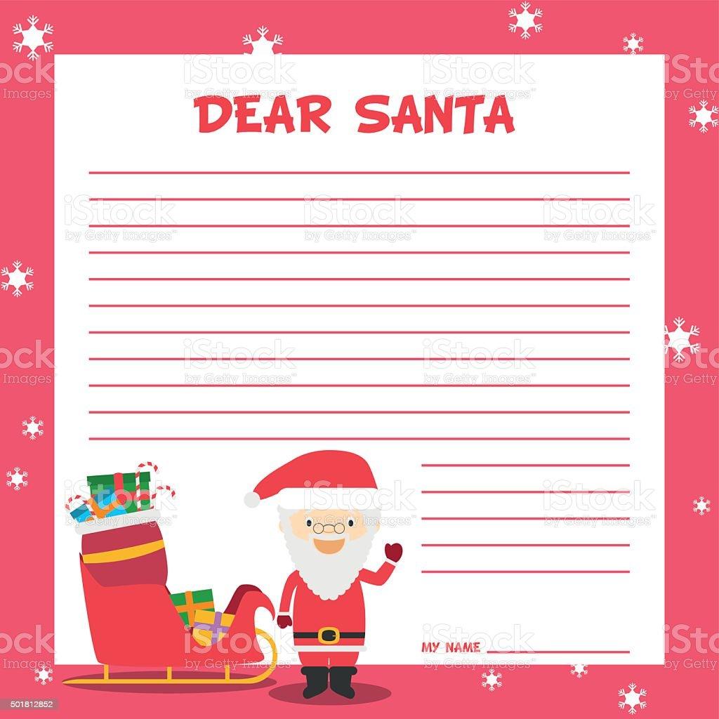 サンタクロースレターテンプレートベクトルイラストのクリスマス期間