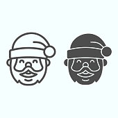 Santa Claus line and solid icon. Grandfather smilling face with conic hat. Christmas vector design concept, outline style pictogram on white background, use for web and app. Eps 10