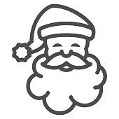 Santa Claus line icon, New Year concept, Christmas and New Year symbol sign on white background, Santa Claus face icon in outline style for mobile concept and web design. Vector graphics