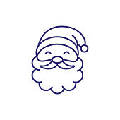 Santa Claus line icon. New Year, cartoon character, Christmas eve. Christmas concept. Vector illustration can be used for topics like holiday, celebration, party