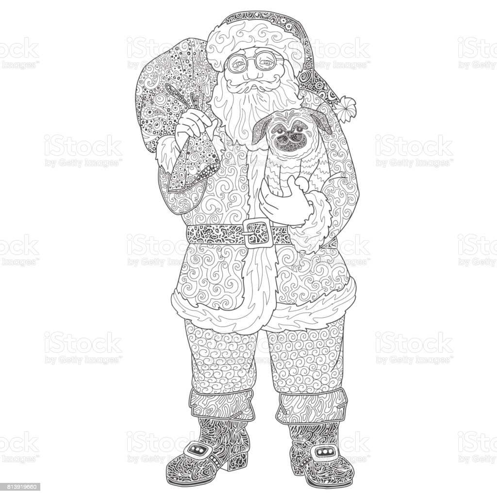 Noel Baba Boyama Kitabı Için çizim Stok Vektör Sanatı Adamlarnin