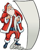 Santa Claus with a long checklist. Is it a naughty or nice list, or maybe a list of Christmas wishes?
