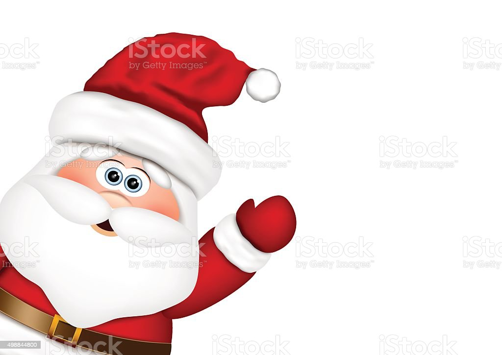 Santa Claus look from the side vector art illustration