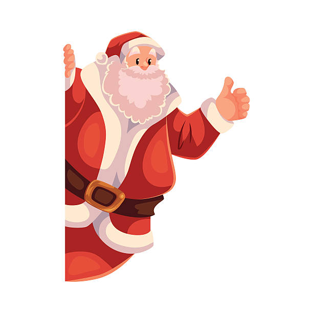 santa claus looking from behind the wall with thumb up - old man showing thumbs up cartoons stock illustrations, clip art, cartoons, & icons