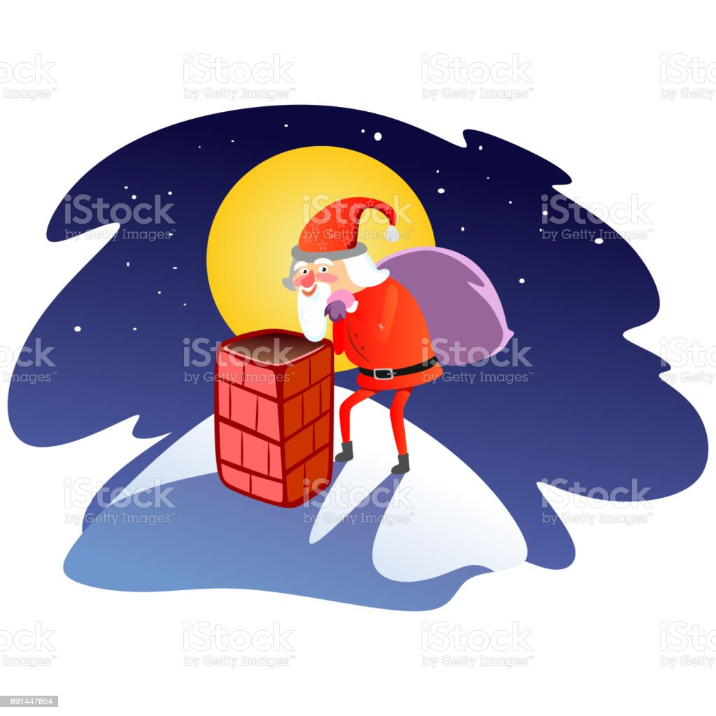 Santa Claus Mann Im Roten Anzug Und Bart Mit Tasche Von Geschenken ...