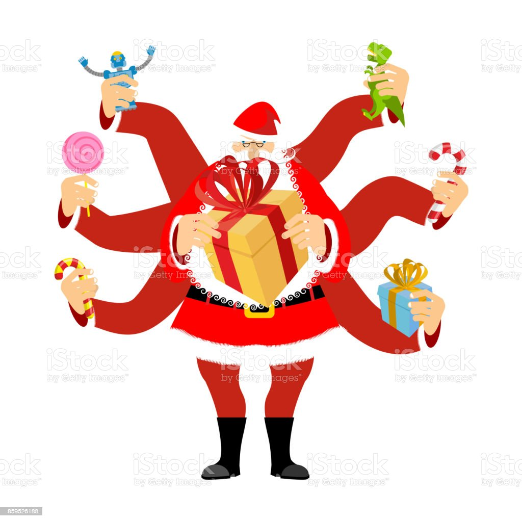 santa claus many hands many gifts for christmas new year vector illustration royalty - How Many Gifts For Christmas