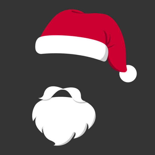 Santa Claus mask. Red hat, white mustache and beard isolated on black background. Christmas poster. Vector illustration Santa Claus mask. Red hat, white mustache and beard isolated on black background. Christmas poster. Vector illustration. santa hat stock illustrations