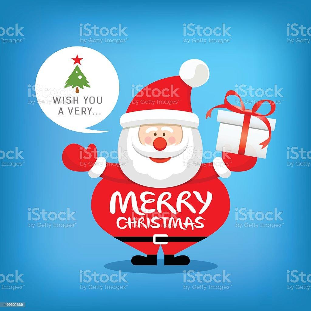 Santa Claus Merry Christmas Message Mit Geschenk Box Stock Vektor ...