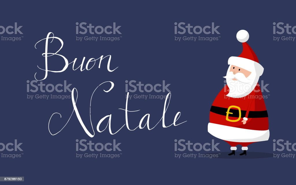 Buon Natale Wishes Italian.Santa Claus Merry Christmas Wishes Buon Natale In Italian Stock Illustration Download Image Now Istock