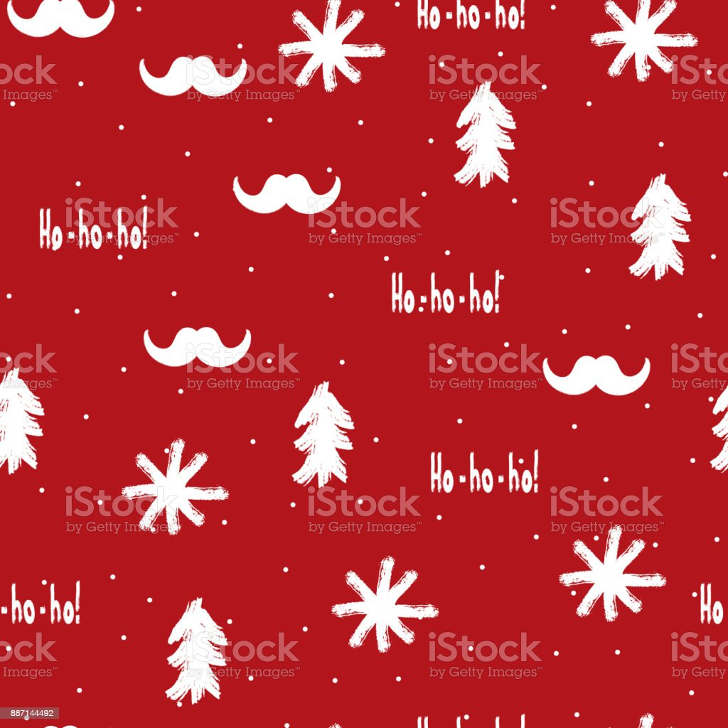 Christmas Graffiti Background.Santa Claus Mustache Snowflakes Christmas Trees And Text