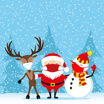 Santa Claus next to deer and snowman in protective masks.