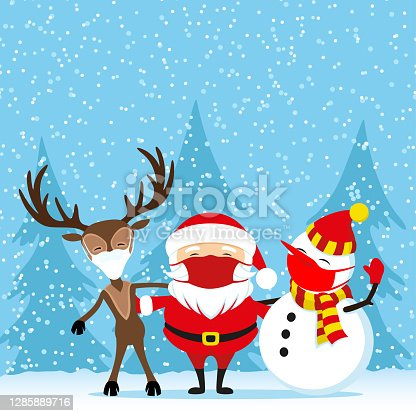 istock Santa Claus next to deer and snowman in protective masks. 1285889716