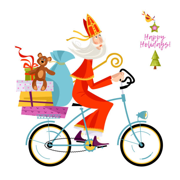 santa claus (sinterklaas) on a bicycle with gifts. christmas in holland. - dutch traditional clothing stock illustrations, clip art, cartoons, & icons