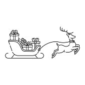 Santa Claus on a sleigh with deer outline vector illustration isolated on white background. Christmas Santa Claus in trendy flat design style. Santa Claus vector icon modern and simple flat symbol for website, mobile, logo, app design. Vector EPS 10