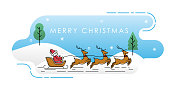 Santa Claus on a sleigh with deer vector illustration isolated on white background. Christmas Santa Claus in trendy flat design style. Santa Claus vector icon modern and simple flat symbol for website, mobile, logo, app design. Vector EPS 10