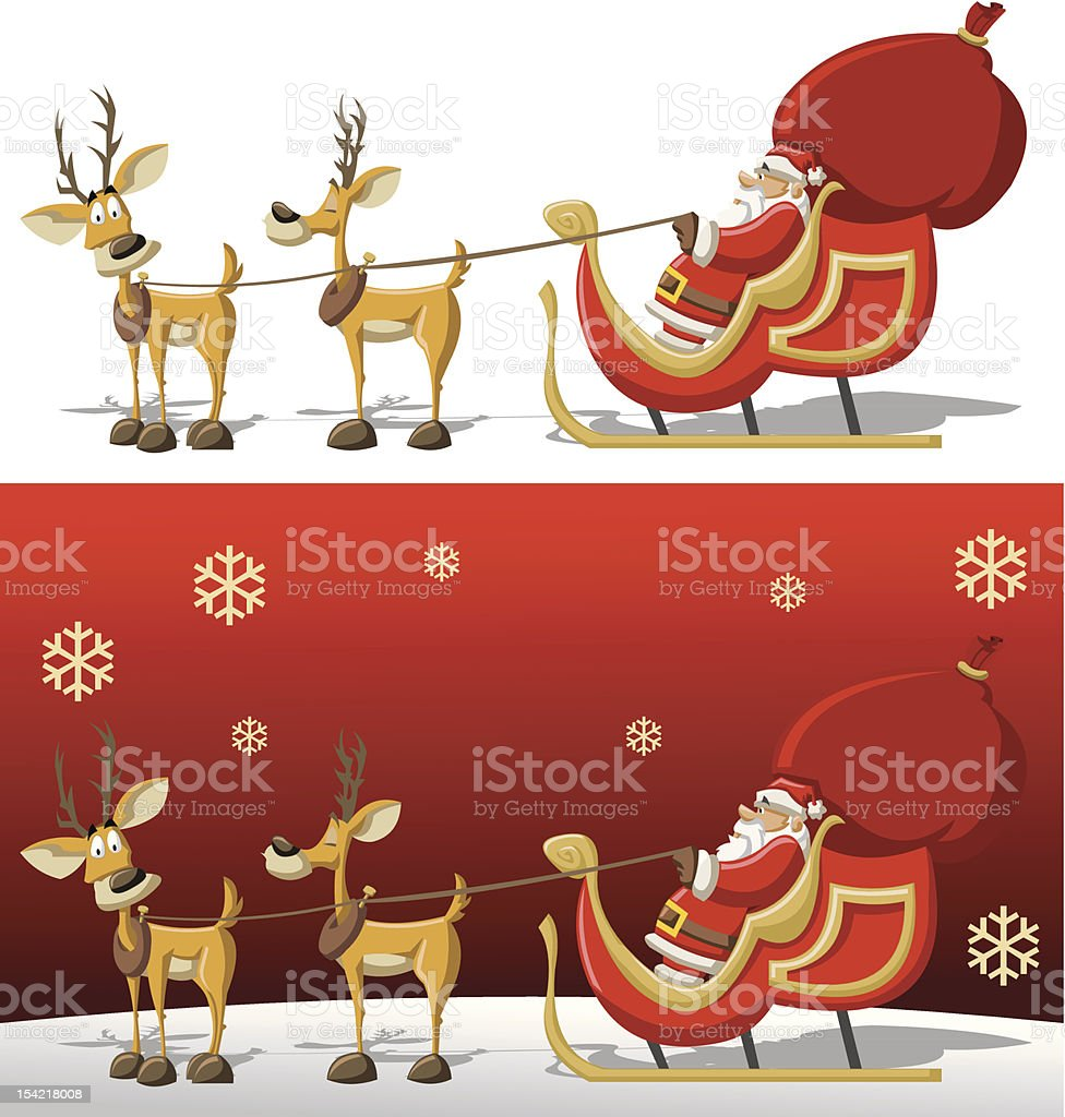 Santa Claus on a sleigh with reindeer royalty-free stock vector art