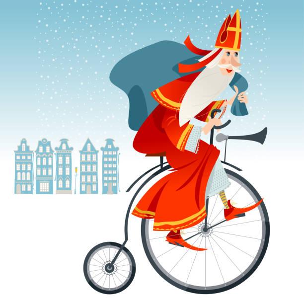 stockillustraties, clipart, cartoons en iconen met de kerstman (sinterklaas) op een uitstekende fiets met een zak van giften. kerstmis in nederland. - cadeau sinterklaas