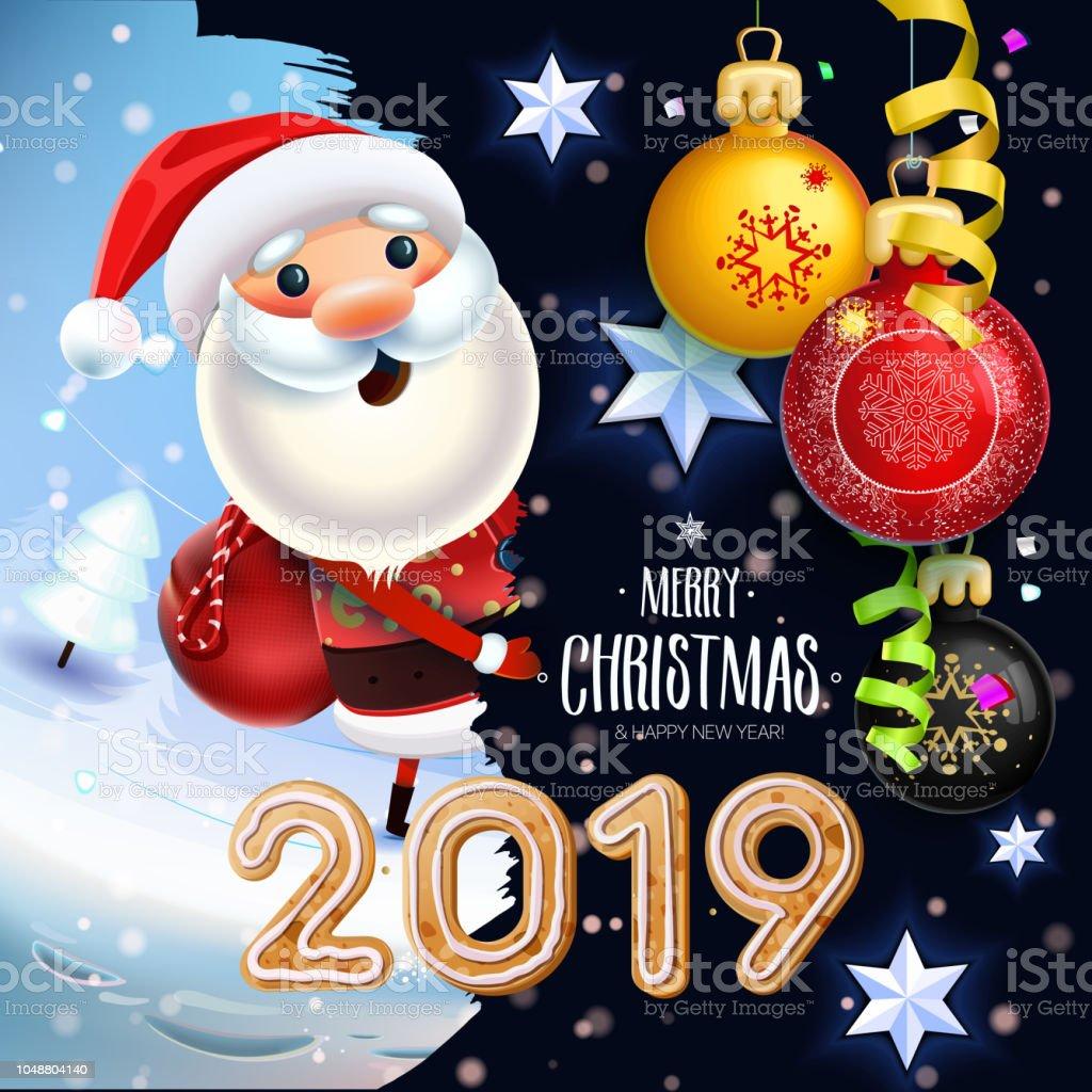 Weihnachtsgebäck 2019.Santa Claus Auf Einem Winter Hintergrund Mit Geschenken Spielzeug