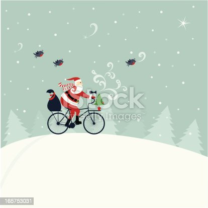 Santa Claus delivering gifts on bicycle, Robins following him. Elements are on separate layers. Easy to change color.