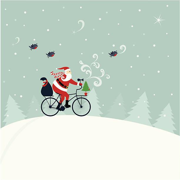 santa claus auf einem fahrrad - lustige fahrrad stock-grafiken, -clipart, -cartoons und -symbole