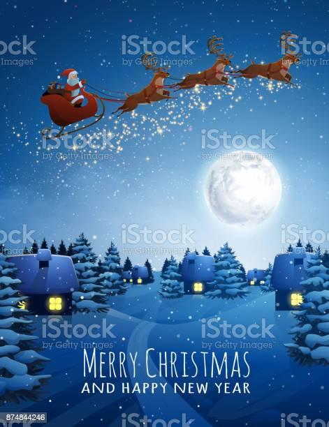 Santa claus on deer flying sleigh with reindeers christmas landscape vector id874844246?b=1&k=6&m=874844246&s=612x612&h=e5chz1zatooxrbth06rc7bcwrbg2dtlj93tt2jqdmyo=