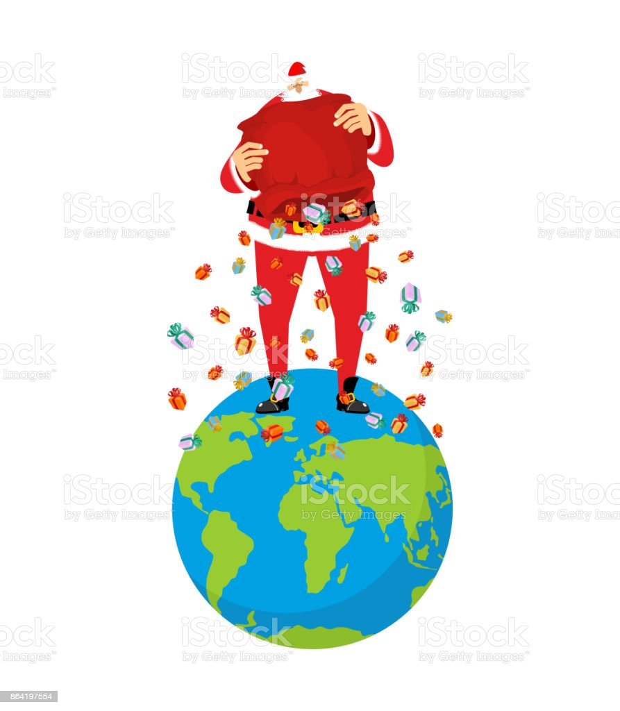 Santa Claus on Earth. Christmas on planet. Big red bag and many gifts. Xmas Vector Illustration royalty-free santa claus on earth christmas on planet big red bag and many gifts xmas vector illustration stock vector art & more images of blue
