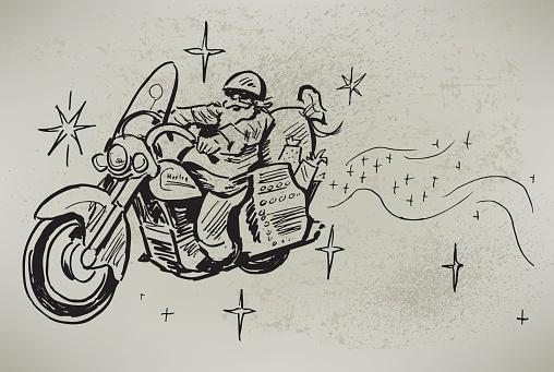 Santa Claus on His Motorcycle