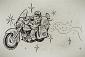 "Santa Claus on His Motorcycle illustration. Check out my ""Christmas Backgrounds and Accents"" light box for more."