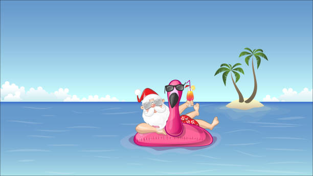 santa claus on inflatable flamingo float enjoys the summer vacation - summer background stock illustrations