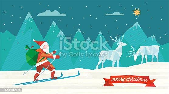 istock santa claus on ski in winter landscape 1183152160