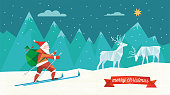 polygonal folded christmas illustration of santa claus on ski in winter landscape with reindeers